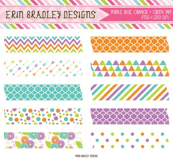 Digital Washi Tape Clipart - Purple Green Orange Blue