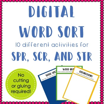 Digital Word Sort for Spr, Scr,and Str