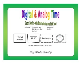 Digital and Analog Time to hour and half hour - 5 Game Bundle
