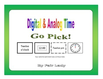 Digital and Analog Time to hour and half hour - Go Pick! Game