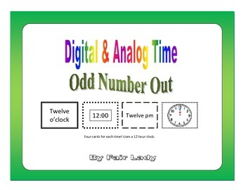 Digital and Analog Time to hour and half hour - Odd Number