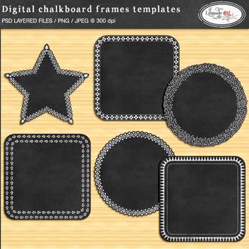 Digital chalkboard frame template