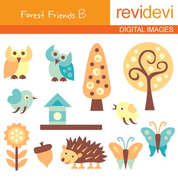 Digital clipart - Forest Friends B (owls, trees, birds, bu