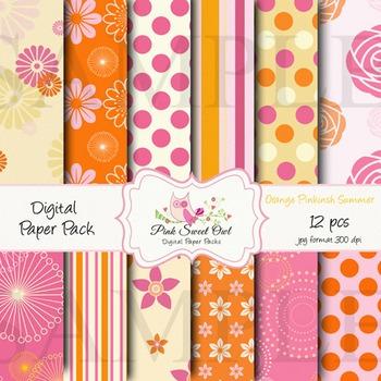 Digital paper - Pink orange summer