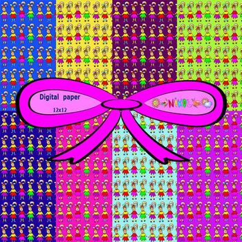 Digital paper - Girls - Ribbon - Clip Art - Personal or Co