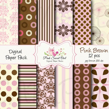 Digital paper - pink brown paper background
