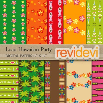 Digital papers for background - Luau Hawaiian Party 10075