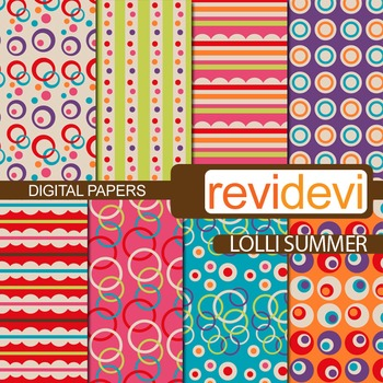 Digital papers for bulletin background - Lolli summer