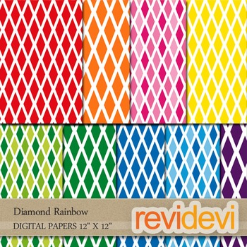 Digital papers for cover background: Diamond rainbow