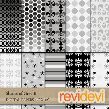 Digital papers for patterned background - Shades of Grey B