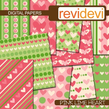 Digital papers - pink lime heart (printable, background) t