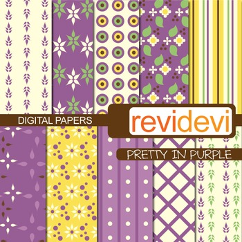 Digital scrapbook papers for background - pretty in purple
