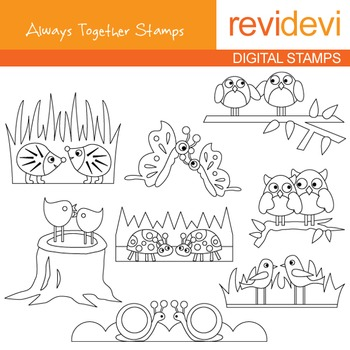 Digital stamp - Always together (birds, owls in pair) colo