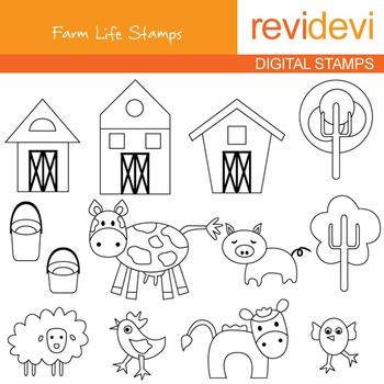 Line art - Farm Life Stamps 07062 (farm animals, barnyard)
