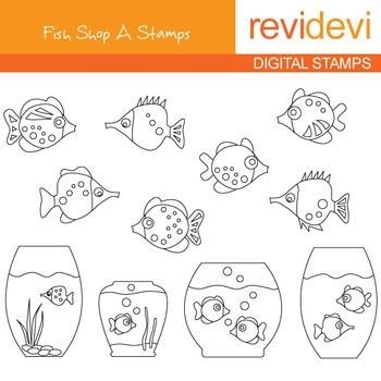 Digital stamp - Fish Shop A 07117 (aquarium) coloring grap