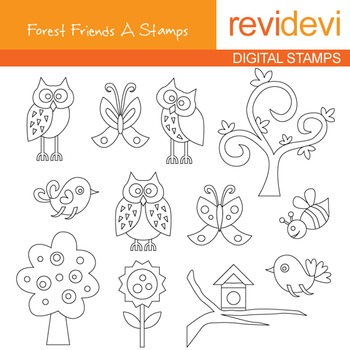 Digital stamp - Forest Friends A (owls, trees, birds) colo