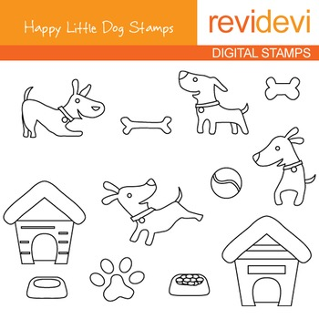 Line art Digital stamp - Happy Little Dog (puppy, pet) col