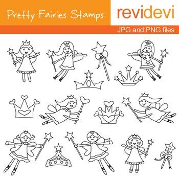 Digital stamp - Pretty Fairies Stamps 07023 (coloring grap
