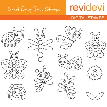 Digital stamp - Sweet Baby Bugs (butterflies, ladybugs) co