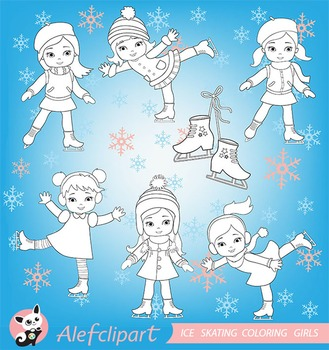 Digital stamp, coloring  Winter Ice Skating Clipart Girls