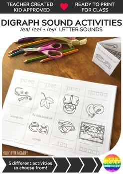 Digraph Activities - Long 'e' Sounds ea ee ey