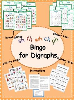 Digraph Bingo Game (sh, ch, wh, th, ph)