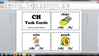 Digraph CH - /k/ or /ch/ Sound - Task Cards