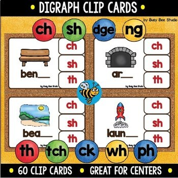 Digraph Clip Cards: ch, sh, ck, th, dge, ng, tch, wh