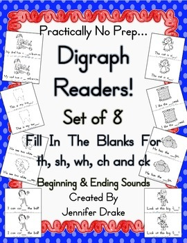 Digraph Readers!  Set of 8!  For Initial & Ending Sounds o