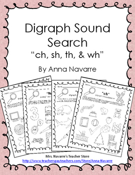 "Digraph Sound Search - ""ch, sh, th, & wh"""