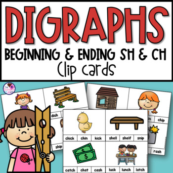 SH & CH Digraphs With Short Vowels Clip Cards and Printables