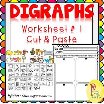 Digraphs Worksheet Cut and Paste