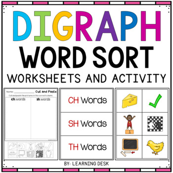Digraphs Worksheets and Word Sort Activity (Cut and Paste)