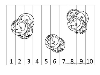 Dime Coin 1-10 Number Sequence Puzzle. Financial education