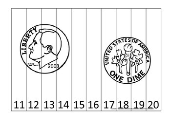Dime Coin 11-20 Number Sequence Puzzle. Financial educatio