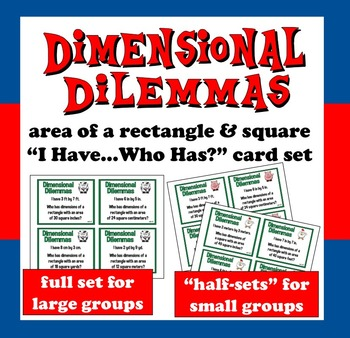 "FREE Dimensional Dilemmas area of a rectangle  ""I Have...W"