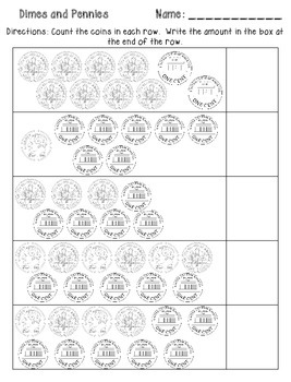 Dimes and Pennies Assessment {FREEBIE}