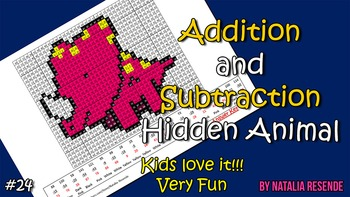 Dinosaur 4 - Addition and Subtraction Mystery Picture - Fun Math