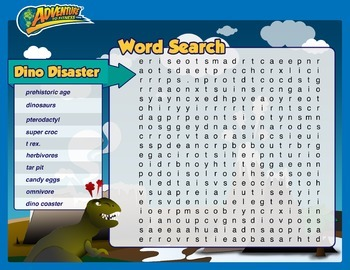 Dino Disaster Word Search