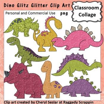 Dino Glitz Clitter Clip Art personal & commercial use Dino
