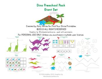 Dino Preschool Pack Giant Set, Printable Worksheets, 20 pages