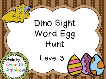 Dino Sight Word Egg Hunt Dolch Level 3 Third Grade