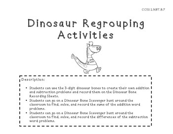 Dinosaur 3-Digit Regrouping Activities