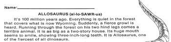 Dinosaur: ALLOSAURUS Info Text + 4 Multiple Choice Reading