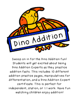Dinosaur Addition-Up to 10, Differentiated, Addition Practice