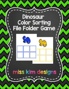 Dinosaur Color Sorting Folder Game for students with Autism