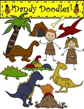 Dinosaur Days (Earthy Colors) Clip Art by Dandy Doodles