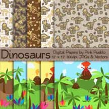 Dinosaur Digital Papers, Dinosaur Scrapbook Papers, Dinosa