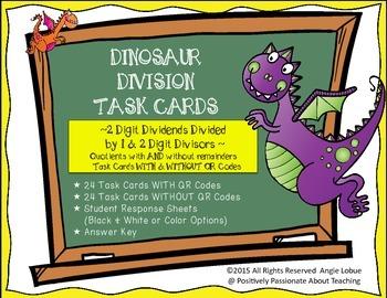 Division Task Cards {Dinosar Themed & QR Codes}: 2 Digit ÷