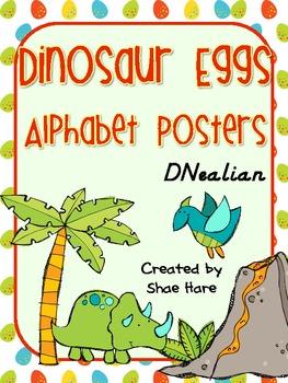 Dinosaur Egg Themed Alphabet Posters DNealian Font